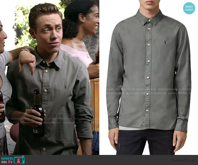Redondo Slim Fit Button-Down Shirt by All Saints worn by Ethan Cutkosky on Shameless