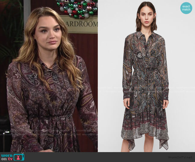 Izzy Dress by All Saints worn by Summer Newman (Hunter King) on The Young & the Restless