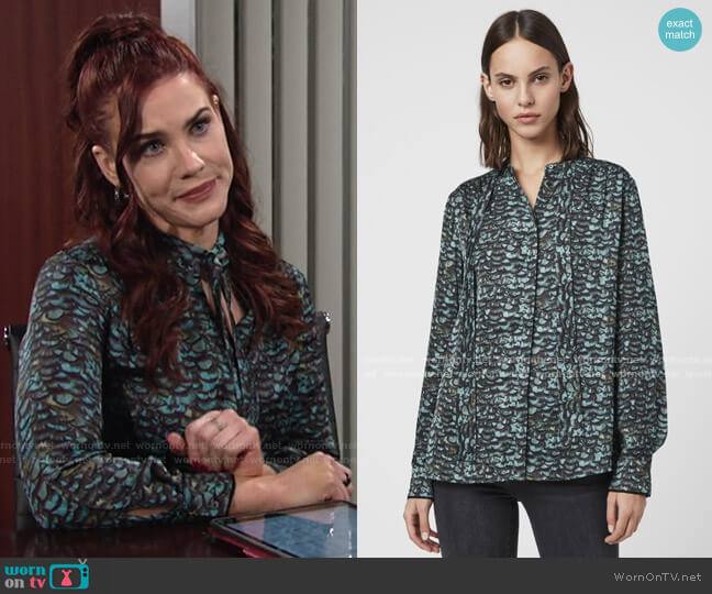 Toni Plume Shirt by All Saints worn by Sally Spectra (Courtney Hope) on The Young & the Restless