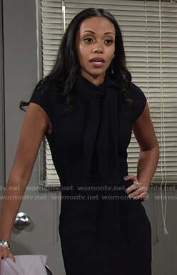Amanda's black tie neck dress on The Young and the Restless
