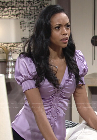 Amanda's lilac v-neck satin top on The Young and the Restless
