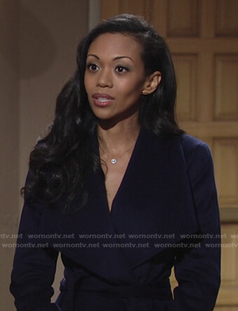 Amanda's navy wrap coat on The Young and the Restless