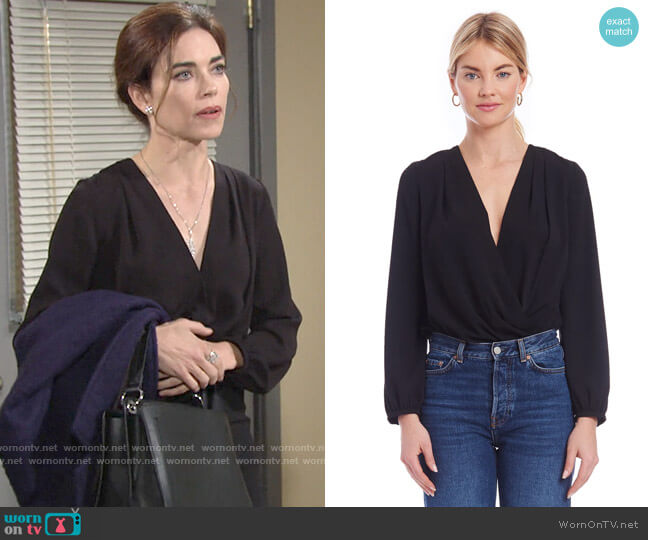 Amanda Uprichard Crossover Bodysuit worn by Victoria Newman (Amelia Heinle) on The Young & the Restless