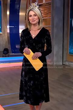 Amy's black floral print velvet wrap dress on Good Morning America