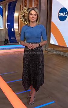 Amy's blue ribbed top and polka dot skirt on Good Morning America