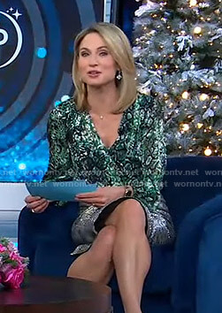 Amy's green printed wrap top on Good Morning America