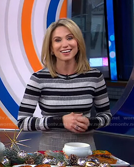 Amy's grey striped ribbed sweater on Good Morning America