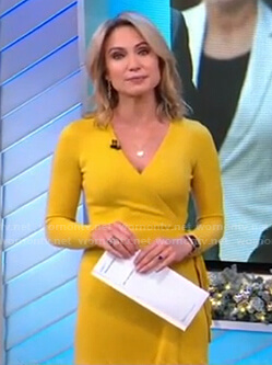 Amy's yellow knit wrap dress on Good Morning America