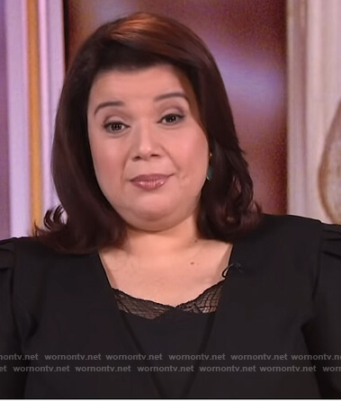 Ana's black puff shoulder blazer on The View