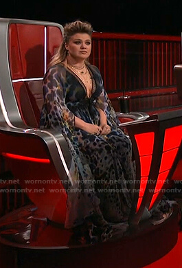 Kelly's animal print plunge neck gown on The Voice