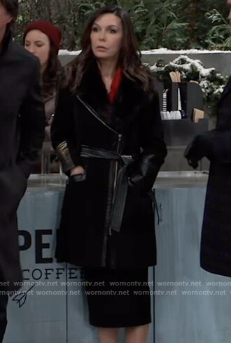 Anna's black belted fur coat on General Hospital