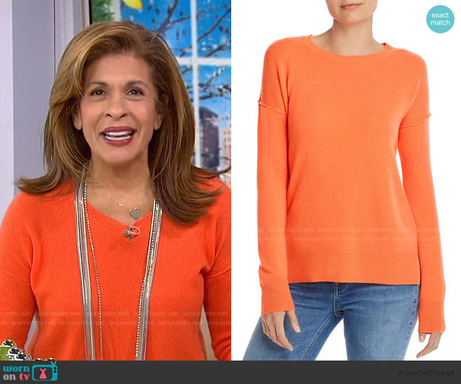 High Low Cashmere Sweater by Aqua Cashmere worn by Hoda Kotb  on Today