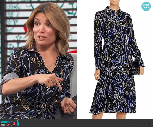 Printed Shirtdress by Aqua worn by Kit Hoover  on Access Hollywood