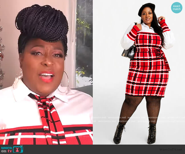 red check contrast dress by Ashley Stewart worn by Loni Love  on The Real