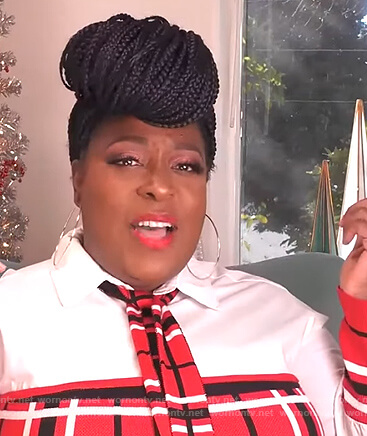 Loni's red plaid contrast dress on The Real