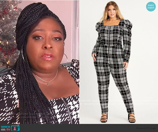 Houndstooth Skinny Jumpsuit by Ashley Stewart worn by Loni Love  on The Real