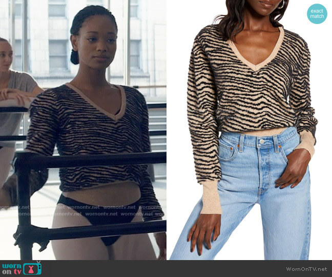 ASTR Tiger Stripe V-Neck Sweater worn by Neveah Stroyer (Kylie Jefferson) on Tiny Pretty Things