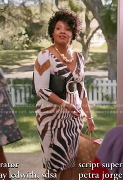 Aunt Denise's animal print v-neck dress on Black-ish