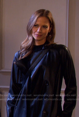 Ava's black leather trench coat on Days of our Lives