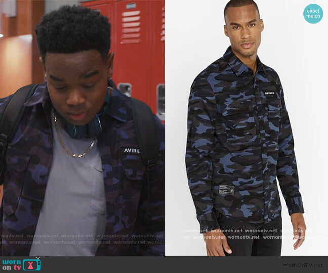 Navy Camo Officer Shirt by Avirex worn by DeVante (Dexter Darden) on Saved By The Bell