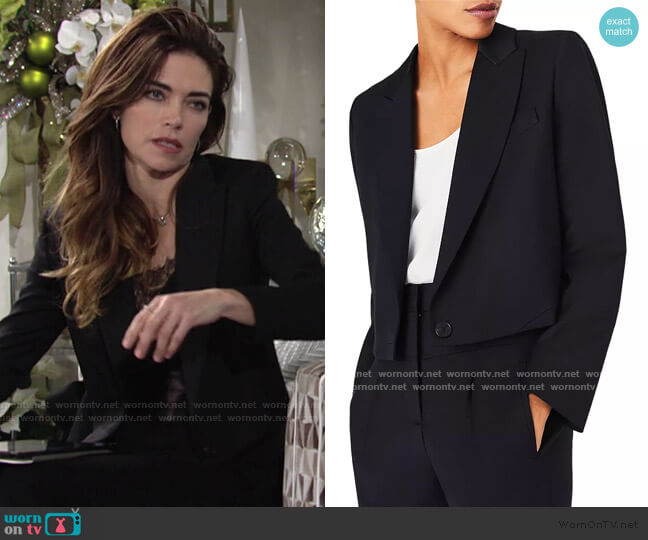 Coppola Cropped Blazer by Ba&Sh  worn by Victoria Newman (Amelia Heinle) on The Young & the Restless