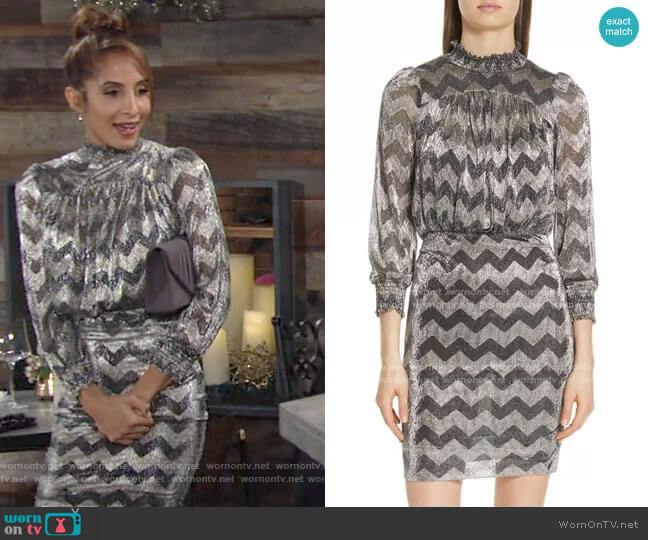 Goldy Zigzag Metallic Stripe Dress by Ba&Sh worn by Lily Winters (Christel Khalil) on The Young & the Restless