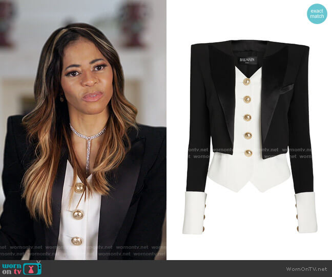 Layered Satin Crepe Tuxedo Blazer by Balmain worn by Mary Cosby  on The Real Housewives of Salt Lake City