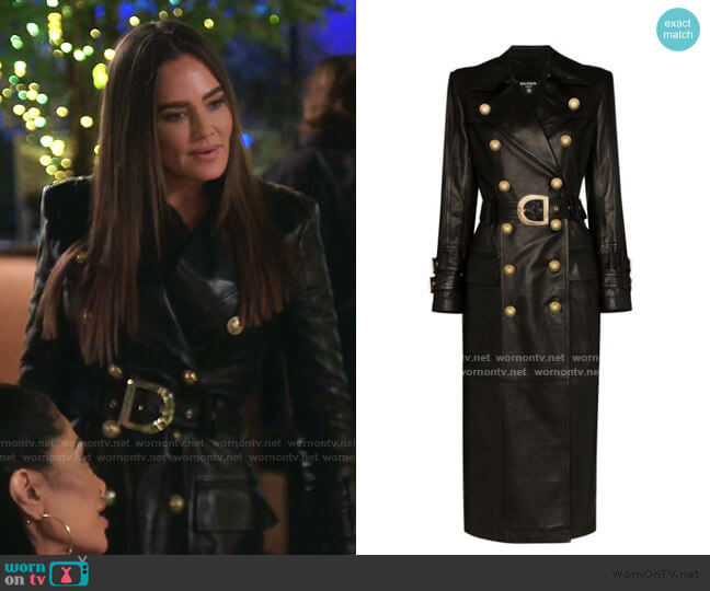 Double-Breasted Belted Leather Trench Coat by Balmain worn by Meredith Marks  on The Real Housewives of Salt Lake City