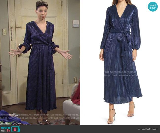 Bardot Melissa Long Sleeve Plissé Faux Wrap Midi Dress worn by Elena Dawson (Brytni Sarpy) on The Young & the Restless