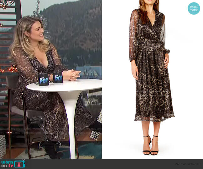 Metallic Stripe Leopard Plisse Midi Dress by Bardot worn by Carissa Loethen Culiner  on E! News