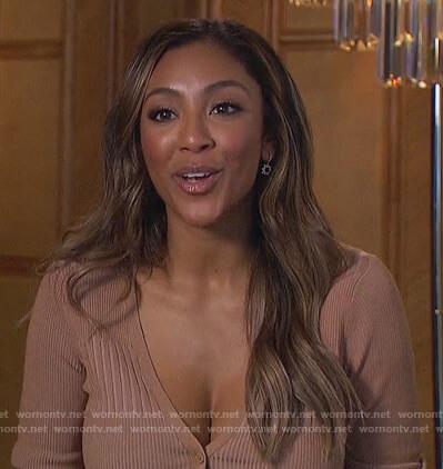 Tayshia's beige ribbed cardigan on The Bachelorette