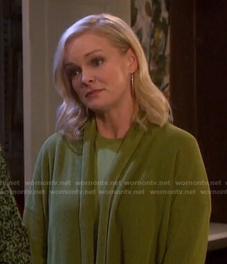 Belle's mustard green cardigan on Days of our Lives