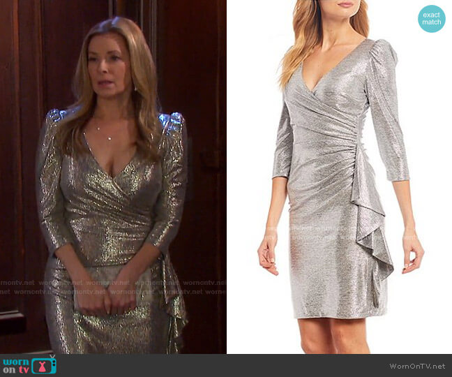 Stretch Metallic Faux Wrap Ruffle Puff Sleeve Dress by Betsy & Adam worn by Jennifer Horton (Cady McClain) on Days of our Lives