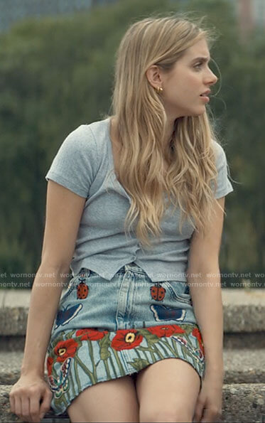 Bette's flower, butterfly, and ladybird embroidered denim skirt on Tiny Pretty Things