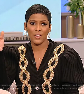 Tamron's black chain embroidered cardigan on Tamron Hall Show