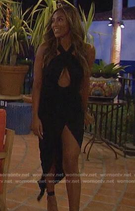 Tayshia's black halter cutout dress on The Bachelorette