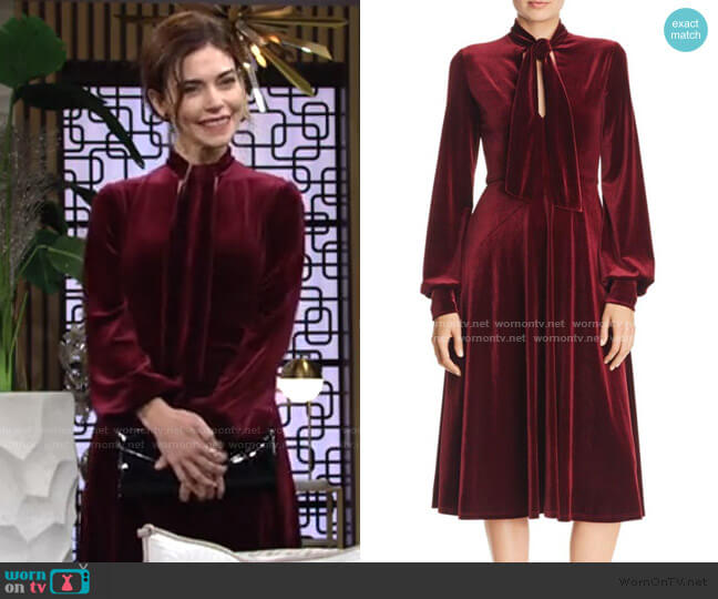 Ruby Tie-Neck Velvet Dress by Black Halo worn by Victoria Newman (Amelia Heinle) on The Young & the Restless