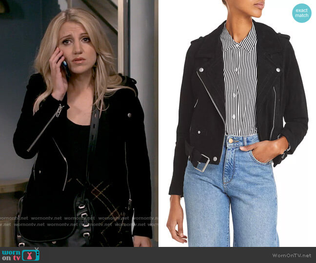 Blank NYC Suede Moto Jacket worn by Gina Dabrowski (Annaleigh Ashford) on B Positive
