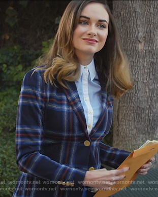Samantha's blue plaid blazer on All Rise