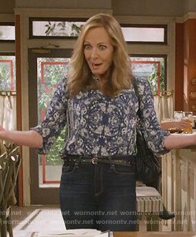 Bonnie's blue paisley print blouse on Mom