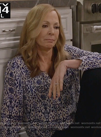 Bonnie's blue ikat print blouse on Mom