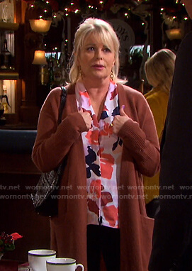 Bonnie's pink floral print top and brown long cardigan on Days of our Lives