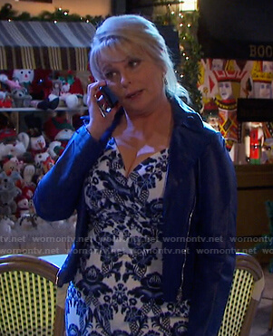 Bonnie's white and blue floral print dress on Days of our Lives