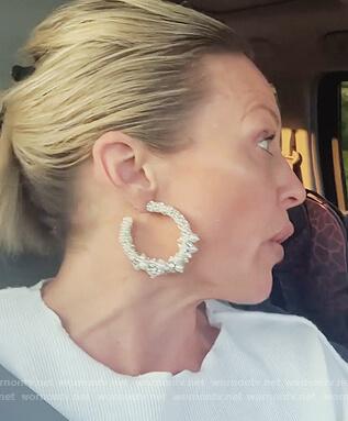 Braunwyn's crystal embellished hoop earrings on The Real Housewives of Orange County