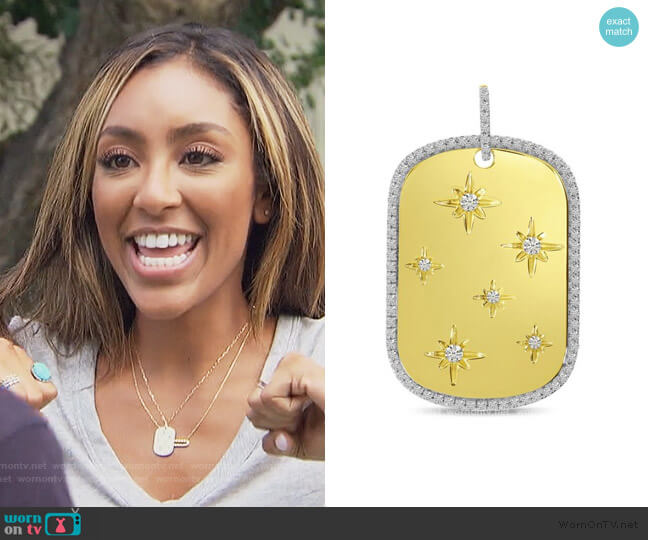 Starburst Dogtag Pendant with Chain by Brevani worn by Tayshia Adams  on The Bachelorette