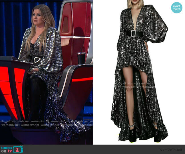 Metallic Zebra V-Neck Bishop-Sleeve High-Low Gown by Bronx and Banco worn by Kelly Clarkson  on The Voice