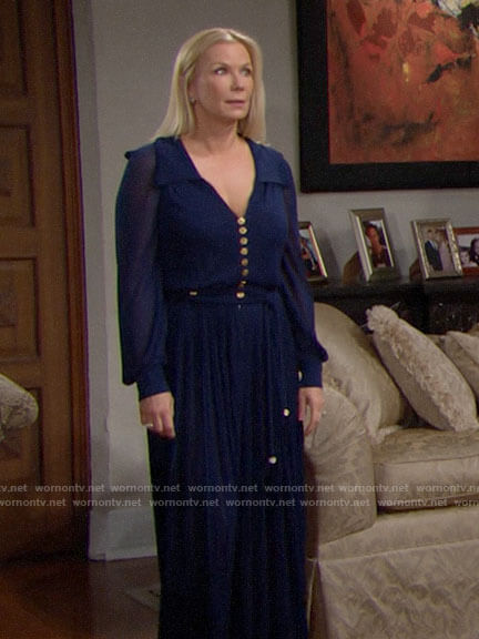 Brooke's blue pleated jumpsuit on The Bold and the Beautiful