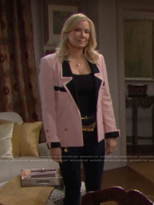 Brooke's pink textured jacket with black trim on The Bold and the Beautiful