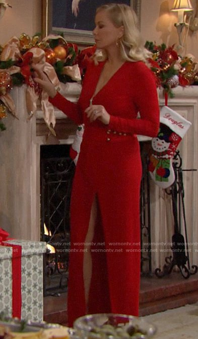 Brooke's red long sleeved gown for Christmas 2020 on The Bold and the Beautiful
