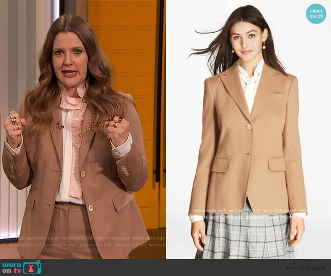 Camel Hair Jacket by Brooks Brothers worn by Drew Barrymore  on The Drew Barrymore Show